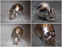 Large Chrome Skull Prop Hire from The Props List