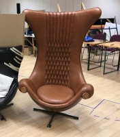 Large Leather High Back Egg Chair Prop Hire from The Props List