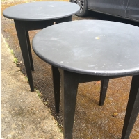 2 black solid tables Prop Hire from The Props List